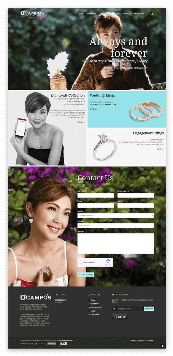 ocampos fine jewelry online catalogue website